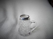 ANTIQUE 1890 HALLMARK SILVER COLLAR MINIATURE CUT GLASS TANKARD DL LONDON 2.75""